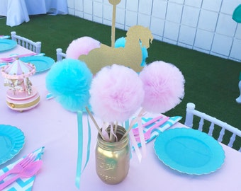 Cotton Candy Pink And Blue, PREMIUM Tulle Pom Pom Wands, Centerpiece or Party Favors -10 PC set