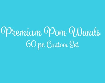 Tulle Pom Pom Wands, PREMIUM, Any Color,  60 Pc Set