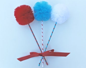 Children's Book Inspired PREMIUM Tulle Pom Pom Wands, Cat Hat Inspired Party, Circus Party Favors, 3 pc Set
