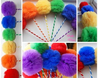 Rainbow Wands, Tulle Pom Pom Wands, PREMIUM, Carnival Party Favors or Centerpiece, Set of 10, 15, or 20