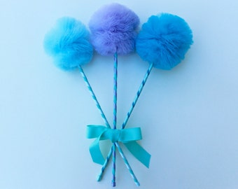 Tulle Pom Pom Wands, Mermaid Party Favors, 3 pc Set