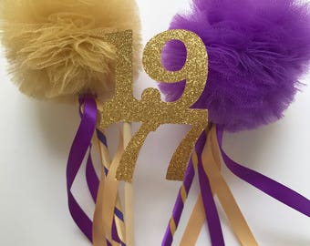 High School Reunion Centerpiece Tulle Pom Pom Wands for Centerpiece - Set of 10  Deluxe Wands & 5 Year Signs