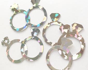 Diamond Ring Confetti, Engagement Party, Bachelorette Party , Bling Me Baby, Holographic Confetti, 100 Ct.
