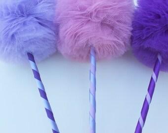 Tulle Pom Pom Wands, PREMIUM Purple Princess Party Favors, 3 pc Set