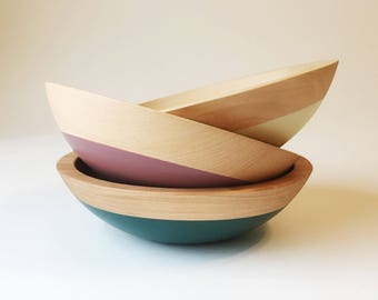 """Small Individual Serving Salad or Snack Bowl, Beech Wood, 7"""" hardwood bowl, color dipped, blue wooden bowl by Willful"""