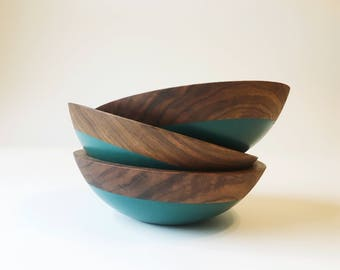 "7"" Walnut Wood and Forest Green Color Dipped Wooden Bowl by Willful Goods"