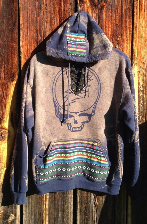 Made to Order Lace Up Grateful Dead Hooping Bear Tribal Fabric Hoodie Og3yNaP
