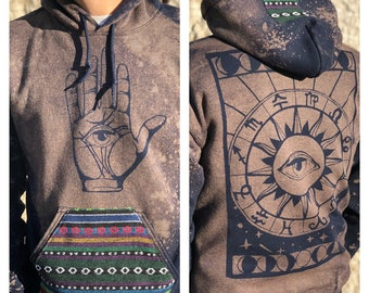 Made to Order Unisex Navy Palmistry Hand Astrology Chart Ethnic Textile Pullover
