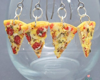 Pizza Earrings in Pepperoni and Cheese, Hanging Pizza Slice Earrings, Fake Food Jewelry, Polymer Clay Food, Food Earrings, Nickel Free