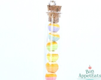 Rainbow Cupcake Necklace, Fake Food Jewelry, Polymer Clay Miniature Food, Dollhouse Cupcakes, Cupcake Jewelry, Miniatute Glass Bottle