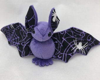 Glow-in-the-dark Spider Bat Purple Plush, Stuffed Animal, Softie