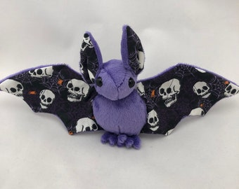 Glow-in-the-dark Skull Bat Purple Plush, Stuffed Animal, Softie