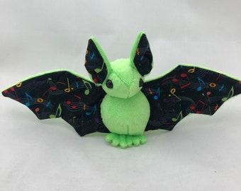 Green Music Note Bat Plush, Stuffed Animal, Softie