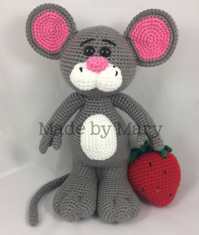 Mouse with Strawberry **Crochet pattern only PDF Pattern not actual doll!** Crochet Mouse