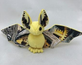 Yellow Steampunk Gears Bat Plush, Stuffed Animal, Softie