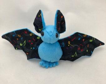 Blue Music Note Bat Plush, Stuffed Animal, Softie