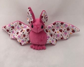 Strawberry Pink Bat Plush, Stuffed Animal, Softie