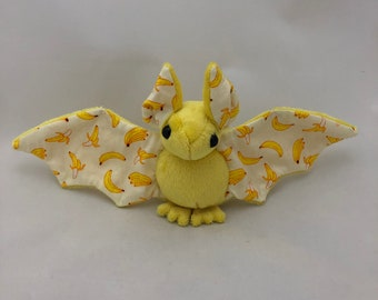 Yellow Banana Bat Plush, Stuffed Animal, Softie
