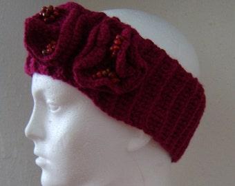 Crochet plum berry maroon headband, ear warmer with flower and beads detail on the side, Crochet, Women's, Winter, Accessory
