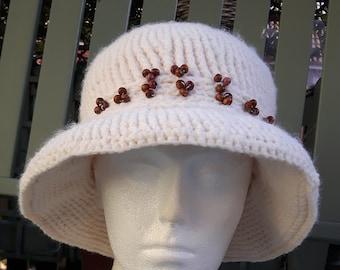 Crochet cream hat with brown wooden beads detail ladies women's
