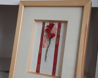 SALE Red flower wall art picture home decoration