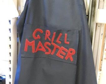 SALE men's apron barbecue grill master applique blue red