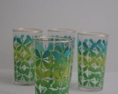 Mid Century Modern 8 oz Drinking Glasses - Juice Water Glass Cup Kitchen Kitschy Flower Pattern Asterisk Turquoise Green Tumbler Collectable
