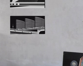 Screen Print: Berlin black and white