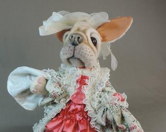 "Artist Dog, French Bulldog ""Madame Delice la Doughnutte"" unique , tan viscose , collectible, handmade, fully jointed #FrenchBulldog"