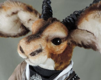 "Impala, ""Ngidi"" Artist Animal soft sculpture Steampunk, OOAK, faux fur , collectible, handmade, #Impala #Steampunk sculpture"