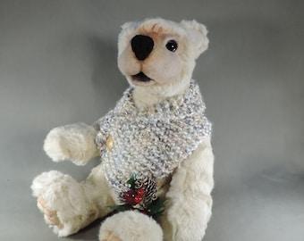 Artist Teddy Bear, Butternut, OOAK  faux fur, needle felted, collectible, handmade teddy #artistbear