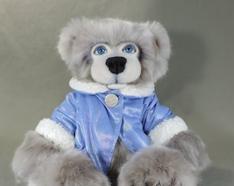 Artist Bear, Snowden, OOAK teddy, Tissavel faux fur, needle felted face, collectible, handmade teddy, fully jointed