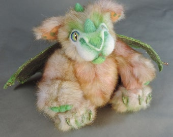 Dragon, Edjer the Thoughtful, Original, 5X jointed, needle felted face, handmade, unique gift