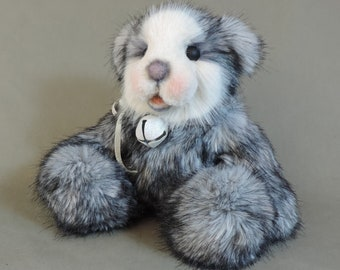 """Artist Teddy Bear, Matteo, OOAK Faux Fur and scissor sculpted face, collectible, handmade teddy, fully jointed, 9"""" tall"""
