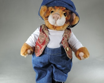 """Cat, Orange Tabby """"Fat Cat Gus"""" unique , faux fur , collectible, handmade, fully jointed #Tabbycat"""