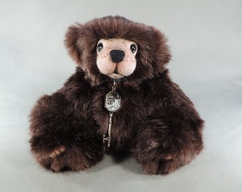 Artist Teddy Bear, Busby OOAK faux fur, needle felted face, collectible, handmade teddy, fully jointed