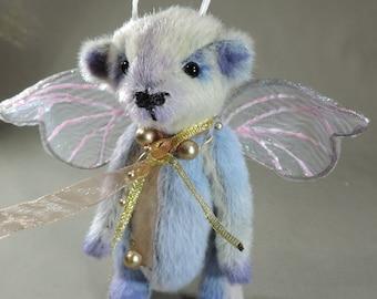 Artist Teddy Bear, Butterfly Bear OOAK faux fur, collectible, handmade teddy, fully jointed