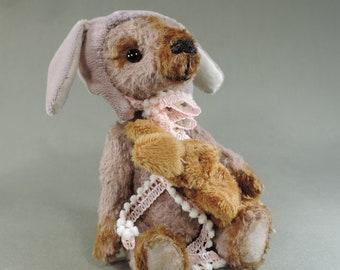 Artist Teddy Bear, Bunny Bear, OOAK faux fur, collectible, handmade teddy, fully jointed