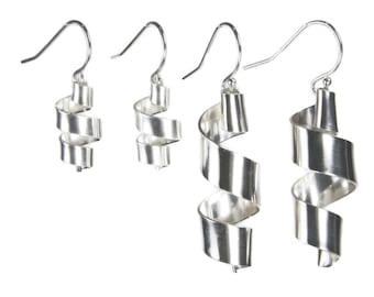 "Silver ""Ribbons"" bright earrings"