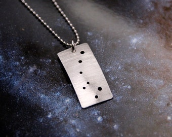 Ursa Minor Little Dipper constellation necklace sterling silver