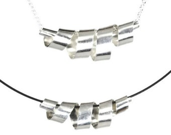 Silver ribbons bright necklace