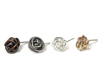 Scribbles stud post earrings - sterling silver, rose gold fill, yellow gold fill, copper patina