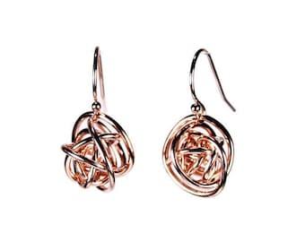 "Rose Gold ""Scribbles"" earrings dangle wire wrap in 14k rose gold fill"