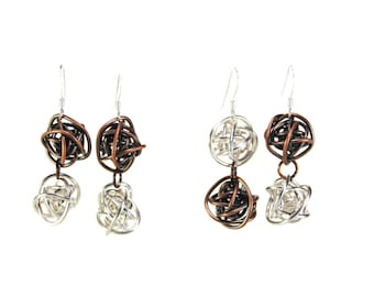"""Wire earrings """"Scribbles"""" wrapped ball dangle sterling silver copper oxidized"""