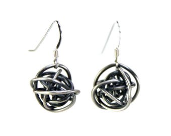 """Sterling Silver Earrings """"Scribbles"""" wire wrapped ball oxidized in tarnish resistant argentium sterling silver"""