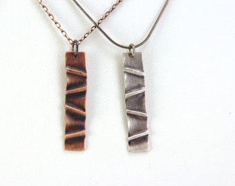 "Textured Copper or Sterling Silver ""Tectonics"" Humboldt Necklace"