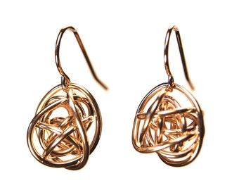 """Yellow Gold """"Scribbles"""" earrings dangle wire wrap in 14k gold fill"""