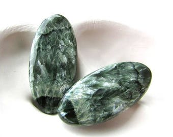 Natural Seraphinite Cabochon 33 x 15 mm Genuine Green Seraphinite Oval Stone Cabochon Natural Gemstone Flat back Jewelry Supplies (1)