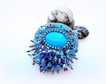 Bead Embroidered Blue Brooch Stone Brooch Blue Tassel Glass Brooch Embroidery Sky Blue Jewelry  OOAK Jewelry Ready to ship