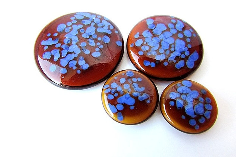 Blue Brown Glass Cabochons Round Lampwork Glass Artistan Cabochons Flat back Jewelry Supplies Set of 4pcs